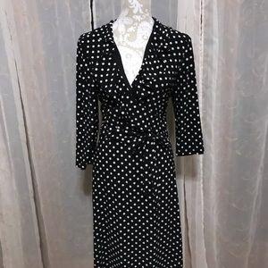 Chaps Ralph Lauren Dressy Black Polka Dot Dress XL